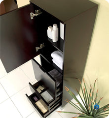 Fresca Espresso Bathroom Linen Side Cabinet with 4 Storage Areas FST1040ES