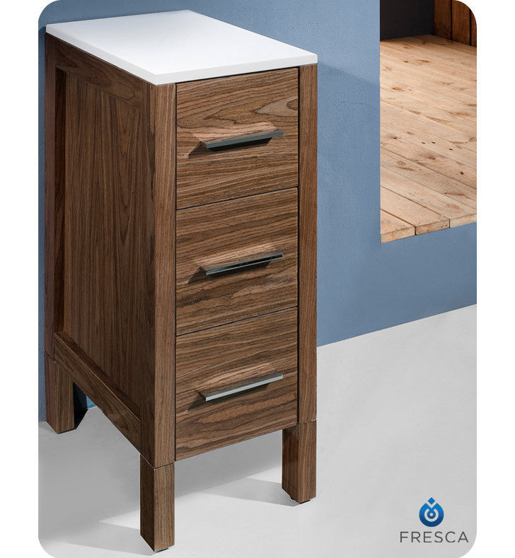 "Fresca Torino 12"" Walnut Bathroom Linen Side Cabinet FST6212WB"