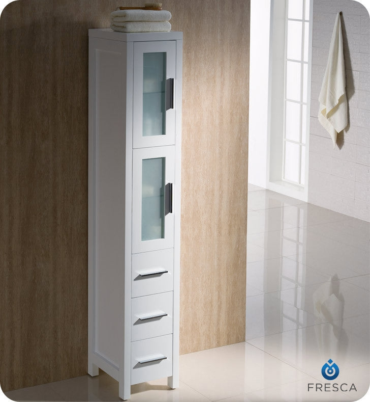 Fresca Torino White Tall Bathroom Linen Side Cabinet FST6260WH