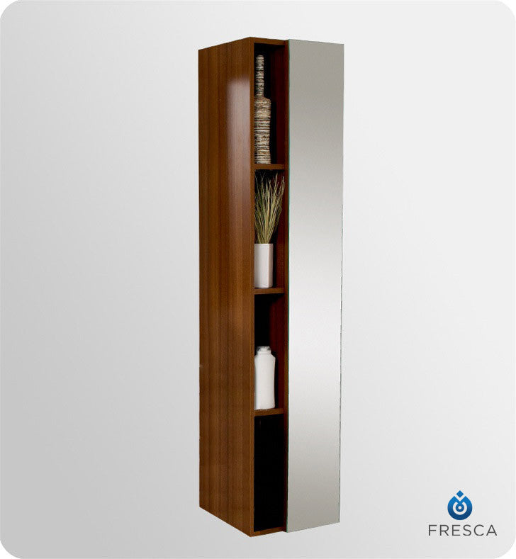 Fresca Teak Bathroom Linen Side Cabinet with 4 Cubby Holes and Mirror FST8070TK