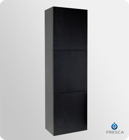 Fresca Black Bathroom Linen Side Cabinet with 3 Large Storage Areas FST8090BW