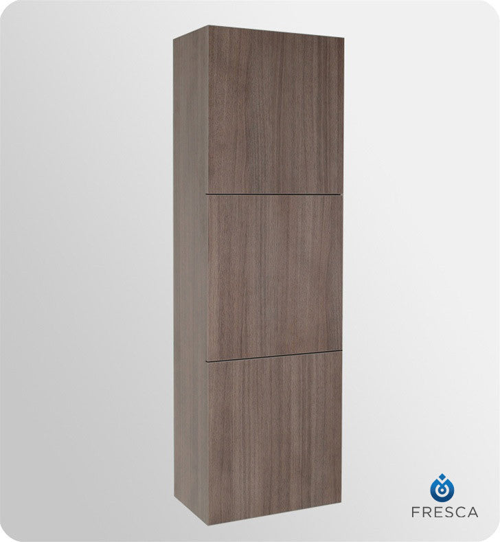 Fresca Gray Oak Bathroom Linen Side Cabinet with 3 Large Storage Areas FST8090GO
