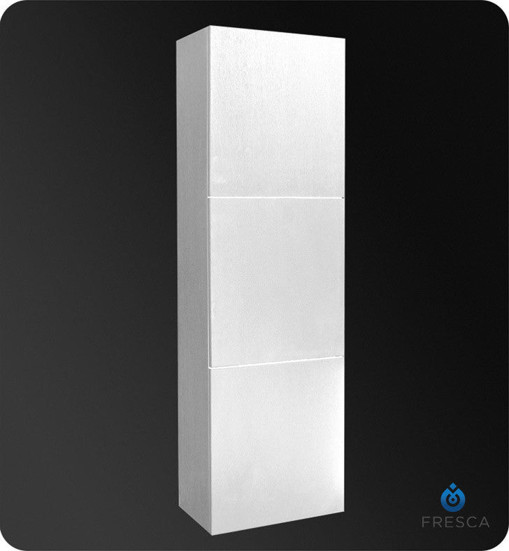 Fresca White Bathroom Linen Side Cabinet with 3 Large Storage Areas FST8090WH