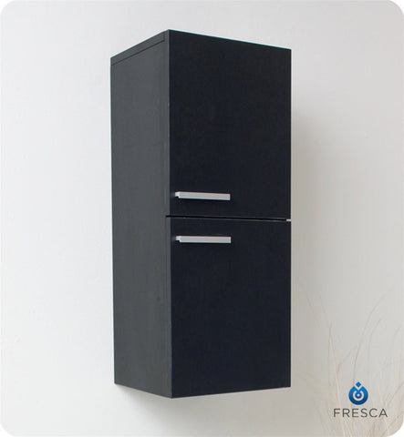 Fresca Black Bathroom Linen Side Cabinet with 2 Storage Areas FST8091BW