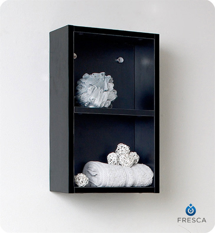 Fresca Black Bathroom Linen Side Cabinet with 2 Open Storage Areas FST8092BW