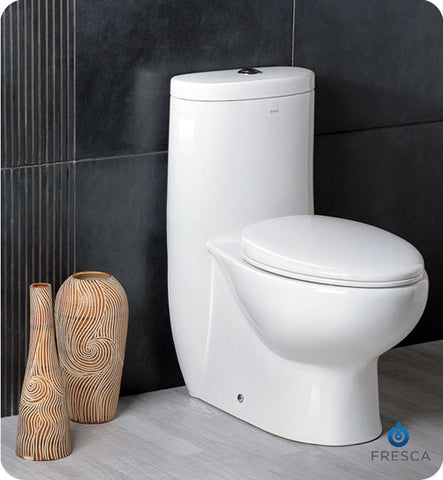 Fresca Delphinus One Piece Dual Flush Toilet with Soft Close Seat FTL2309