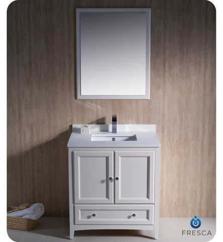 "Fresca Oxford 30"" Antique White Traditional Bathroom Vanity FVN2030AW"