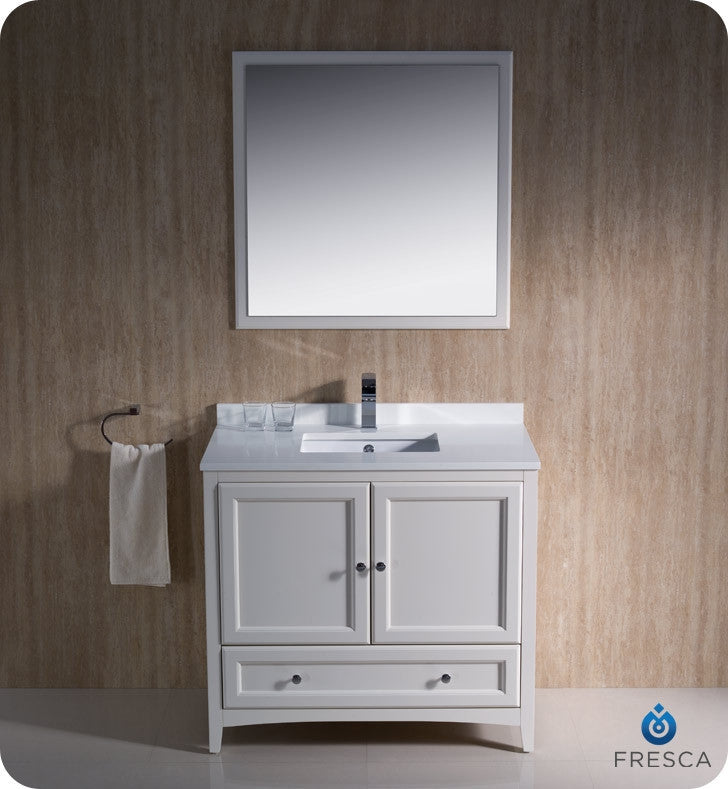 "Fresca Oxford 36"" Antique White Traditional Bathroom Vanity FVN2036AW"