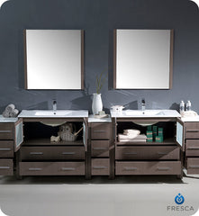 "Fresca FVN62-108GO-UNS Torino 108"" Double Sink Modern Bathroom Vanity with 3 Side Cabinets and Integrated Sinks in Gray Oak"