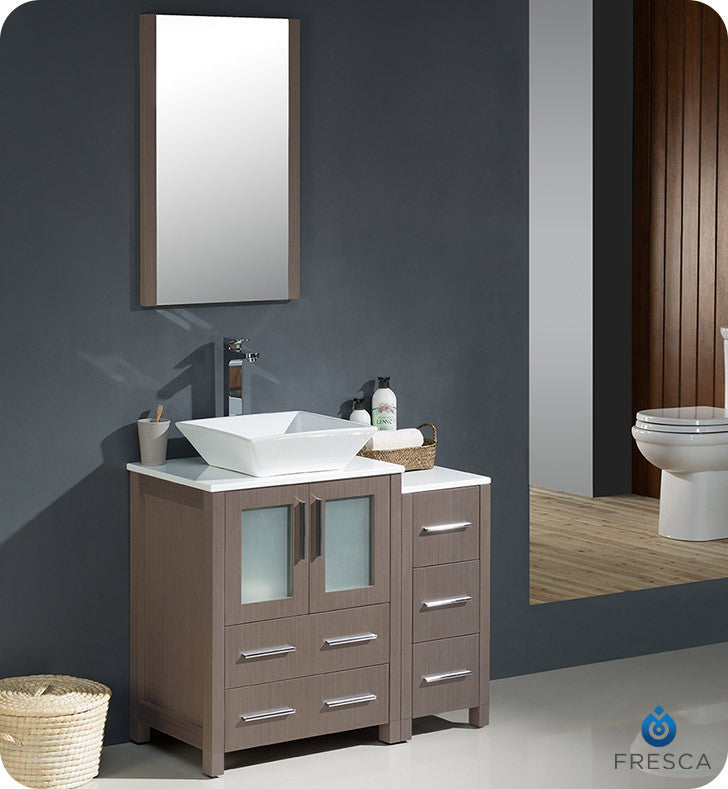 "Fresca FVN62-2412GO-VSL Torino 36""Modern Bathroom Vanity with Side Cabinet and Vessel Sink in Gray Oak"