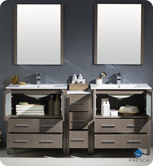 "Fresca FVN62-301230GO-UNS Torino 72"" Double Sink Modern Bathroom Vanity with Side Cabinet and Integrated Sinks in Gray Oak"