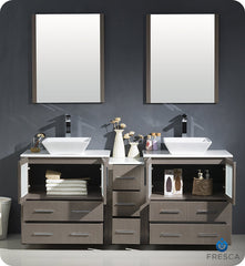 "Fresca FVN62-301230GO-VSL Torino 72"" Double Sink Modern Bathroom Vanity with Side Cabinet and Vessel Sinks in Gray Oak"