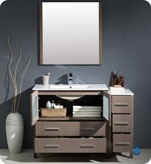 "Fresca FVN62-3612GO-UNS Torino 48"" Modern Bathroom Vanity with Side Cabinet and Integrated Sink in Gray Oak"