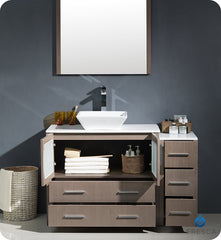 "Fresca FVN62-3612GO-VSL Torino 48"" Modern Bathroom Vanity with Side Cabinet and Vessel Sink in Gray Oak"
