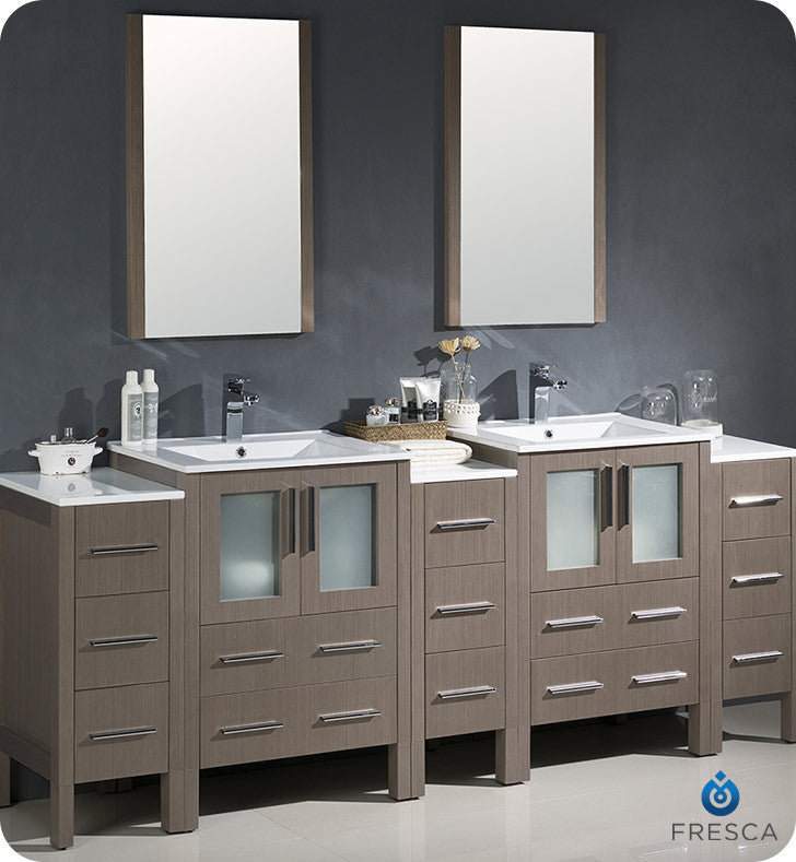 "Fresca FVN62-72GO-UNS Torino 84"" Double Sink Modern Bathroom Vanity with 3 Side Cabinets and Integrated Sinks in Gray Oak"