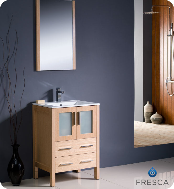 "Fresca Torino 24"" Light Oak Bathroom Vanity with Integrated Sink FVN6224LO-UNS"