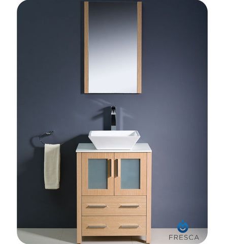 "Fresca Torino 24"" Light Oak Bathroom Vanity with Vessel Sink FVN6224LO-VSL"