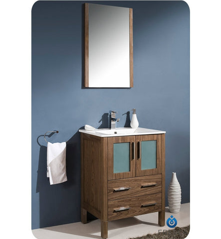 "Fresca Torino 24"" Walnut Brown Bathroom Vanity with Integrated Sink FVN6224WB-UNS"
