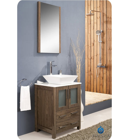 "Fresca Torino 24"" Walnut Brown Bathroom Vanity with Vessel Sink FVN6224WB-VSL"
