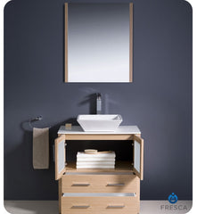 "Fresca Torino 30"" Light Oak Modern Bathroom Vanity with Vessel Sink FVN6230LO-VSL"