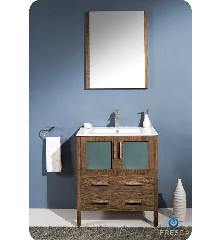 "Fresca Torino 30"" Walnut Brown Modern Bathroom Vanity with Integrated Sink FVN6230WB-UNS"