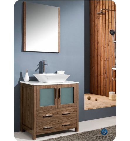 "Fresca Torino 30"" Walnut Brown Modern Bathroom Vanity with Vessel Sink FVN6230WB-VSL"