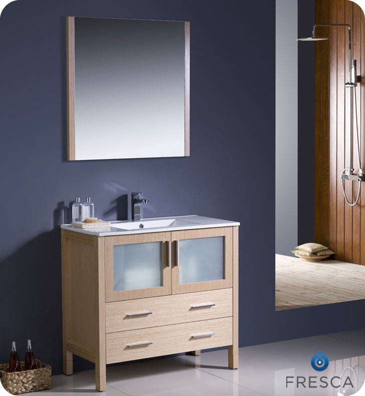 "Fresca Torino 36"" Light Oak Modern Bathroom Vanity with Integrated Sink FVN6236LO-UNS"