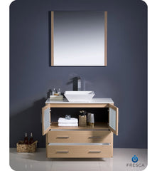 "Fresca Torino 36"" Light Oak Brown Modern Bathroom Vanity with Vessel Sink FVN6236LO-VSL"