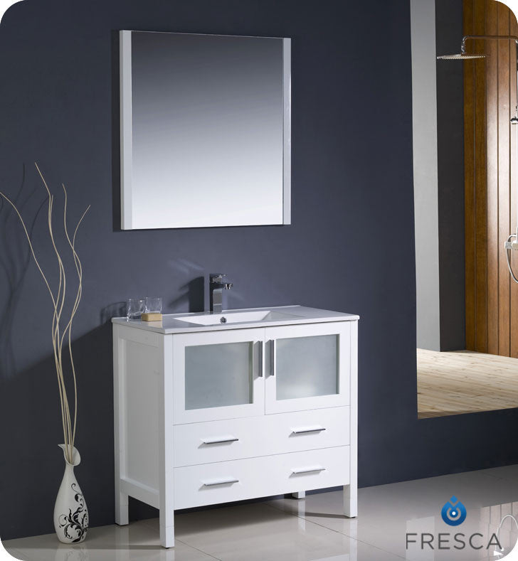 "Fresca Torino 36"" White Modern Bathroom Vanity with Integrated Sink FVN6236WH-UNS"