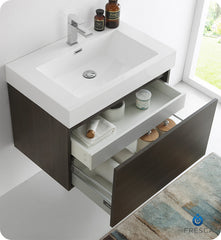 "Fresca FVN8007GO Mezzo 30"" Gray Oak Wall Hung Modern Bathroom Vanity with Medicine Cabinet"
