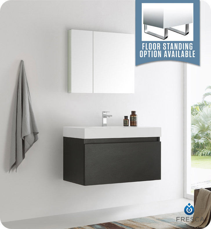 "Fresca FVN8008BW Mezzo 36"" Black Wall Hung Modern Bathroom Vanity with Medicine Cabinet"
