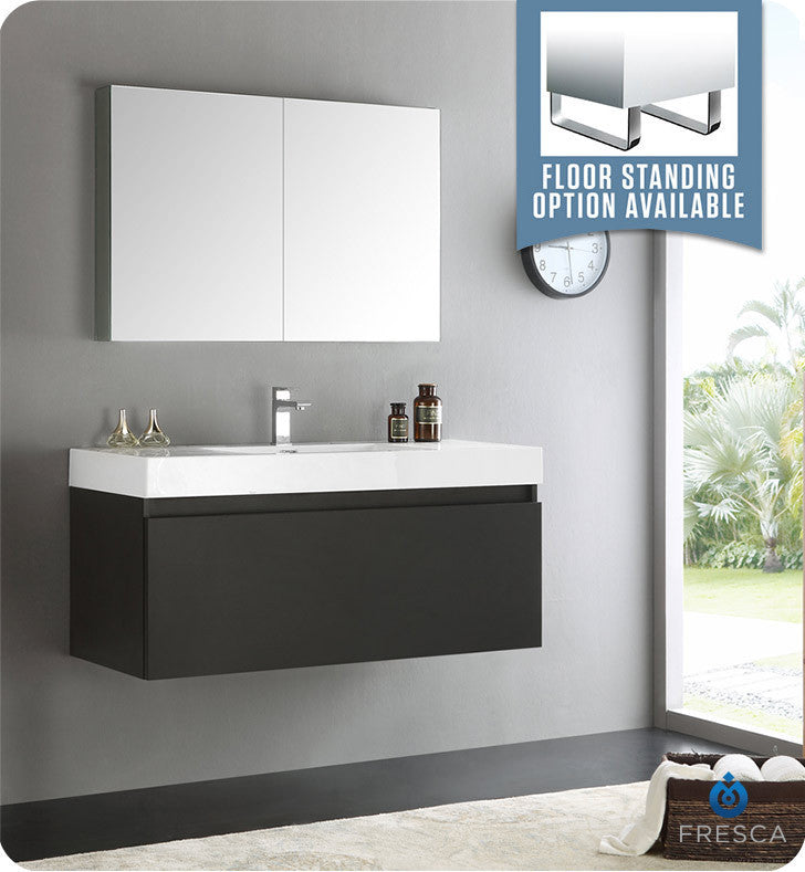"Fresca FVN8011BW Mezzo 48"" Black Wall Hung Modern Bathroom Vanity with Medicine Cabinet"