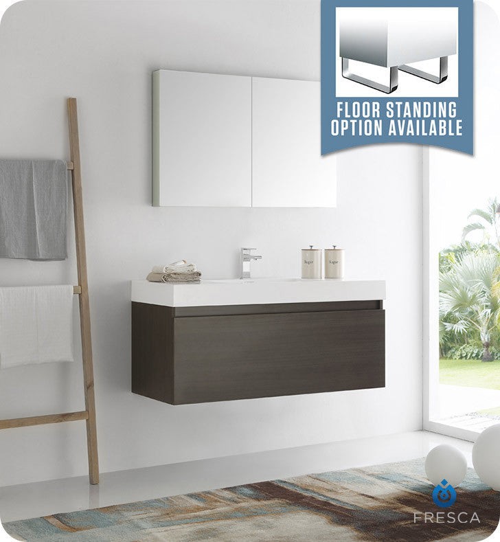 "Fresca FVN8011GO Mezzo 48"" Gray Oak Wall Hung Modern Bathroom Vanity with Medicine Cabinet"