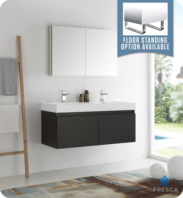 "Fresca FVN8012BW Mezzo 48"" Black Wall Hung Double Sink Modern Bathroom Vanity with Medicine Cabinet"