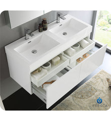 "Fresca FVN8012WH Mezzo 48"" White Wall Hung Double Sink Modern Bathroom Vanity with Medicine Cabinet"