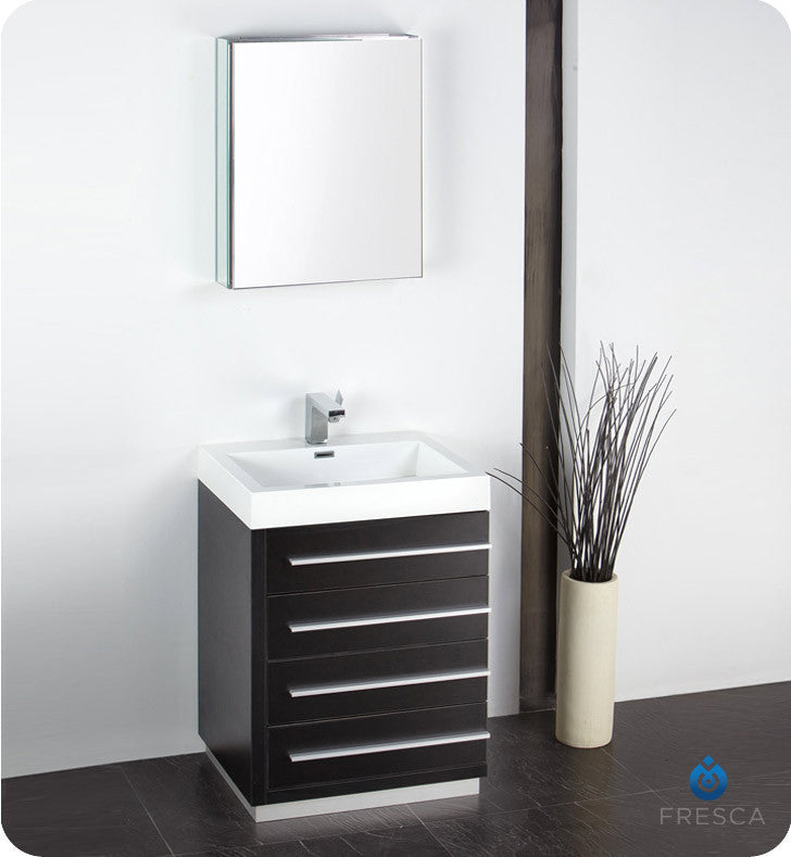 "Fresca Livello 24"" Modern Bathroom Vanity with Medicine Cabinet Black FVN8024BW"