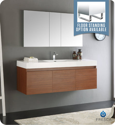 "Fresca FVN8041TK Mezzo 60"" Teak Wall Hung Single Sink Modern Bathroom Vanity with Medicine Cabinet"