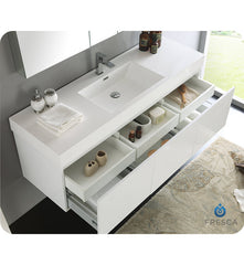 "Fresca FVN8041WH Fresca Mezzo 60"" White Wall Hung Single Sink Modern Bathroom Vanity with Medicine Cabinet"