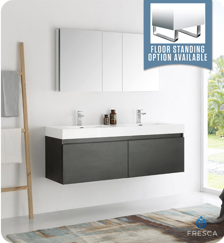 "Fresca FVN8042BW Mezzo 60"" Black Wall Hung Double Sink Modern Bathroom Vanity with Medicine Cabinet"