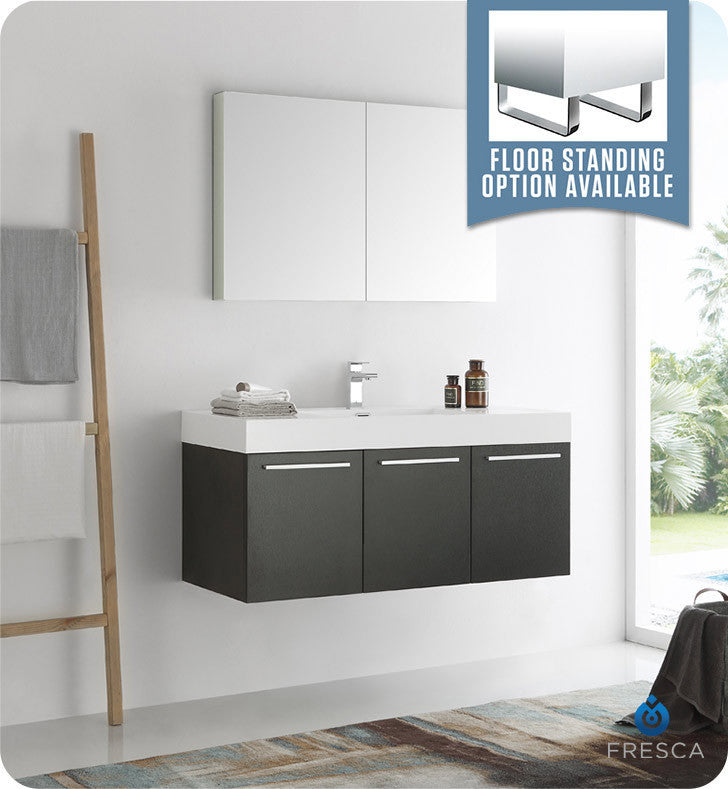 "Fresca Vista 48"" Wall Hung Modern Bathroom Vanity with Medicine Cabinet"