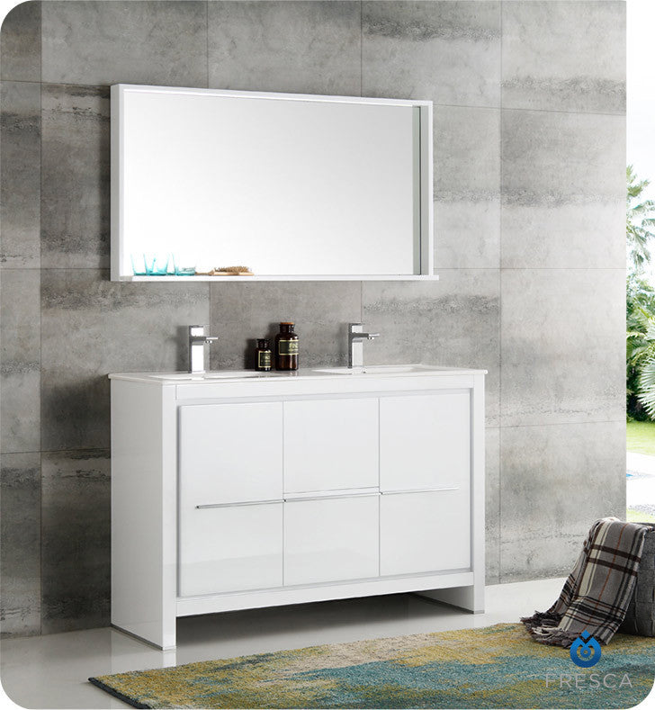 "Fresca Allier 48"" Modern Double Sink Bathroom Vanity with Mirror White FVN8148WH-D"