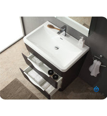 "Fresca Milano 31"" Modern Bathroom Vanity with Medicine Cabinet and Faucet Chestnut FVN8532CN"