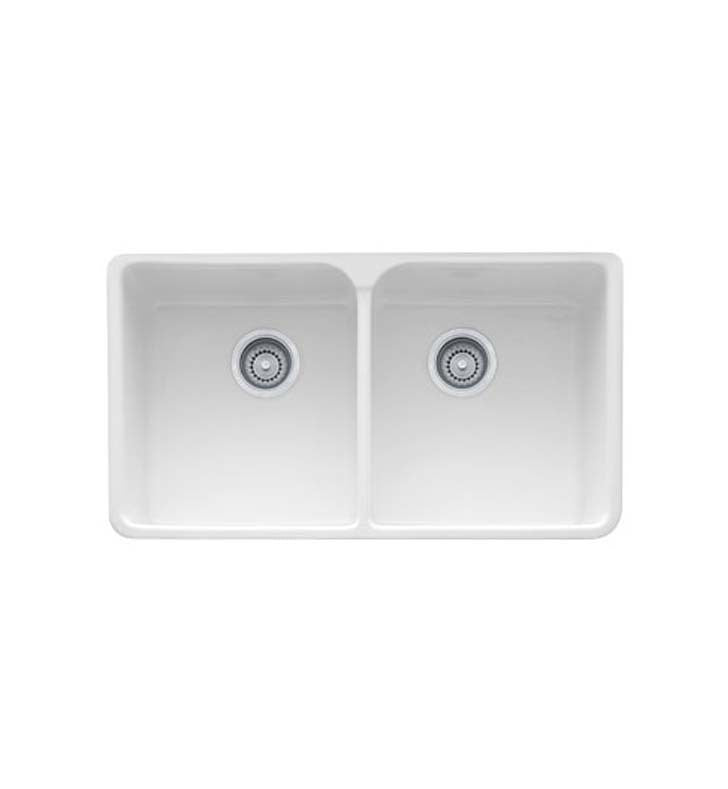 Franke MHK720-35WH Manor House Double Basin Farmhouse Fireclay Kitchen Sink in White