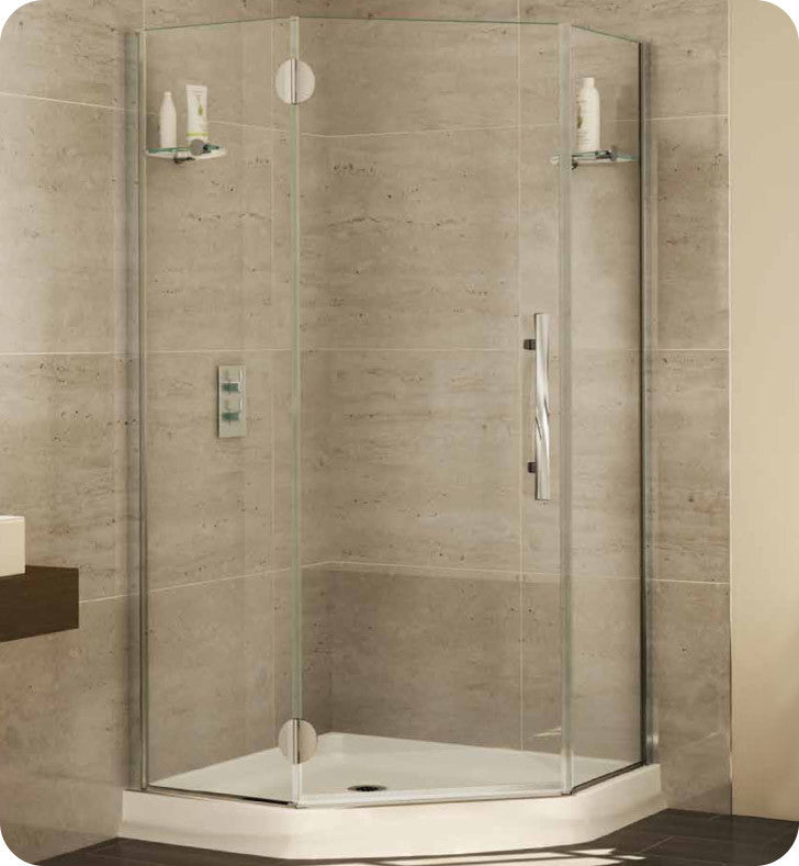 Fleurco Platinum Neo Angle Single Shower Door with Glass to Glass Hinges and Glass Shelf Support PGNA