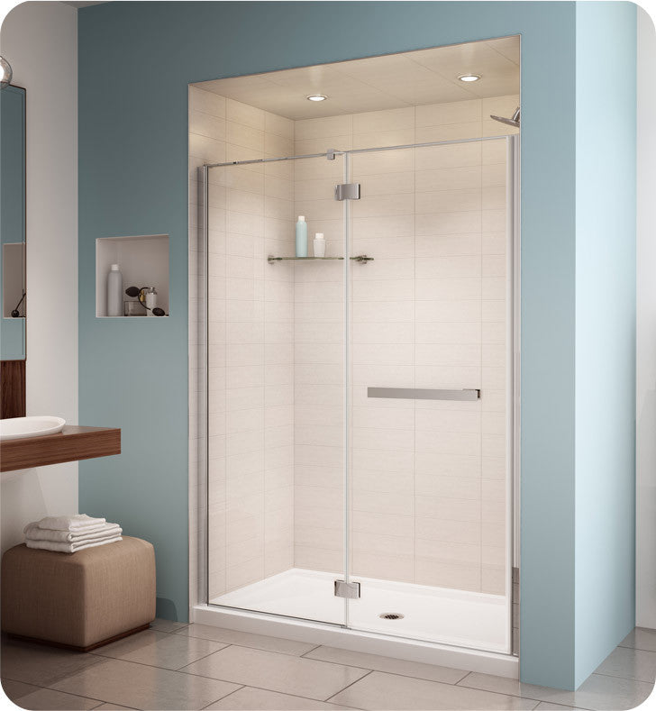 Fleurco Platinum Pura in Line 48 Door and Fixed Panel with Glass to Glass Hinges PJ45