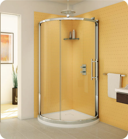 Fleurco Forte Sorrento Arc Sliding Curved Door and Fixed Panel FSA36