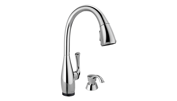 Delta Dominic® Single Handle Pull-Down Kitchen Faucet with Touch2O® Technology and Soap Dispenser Polished Chrome 19940T-SD-DST