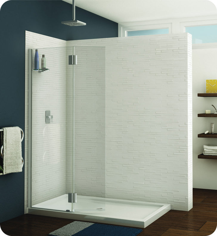 Fleurco Evolution Monaco Square Top Shower Shield with Fixed Panel and Support Bar System VWXSS24