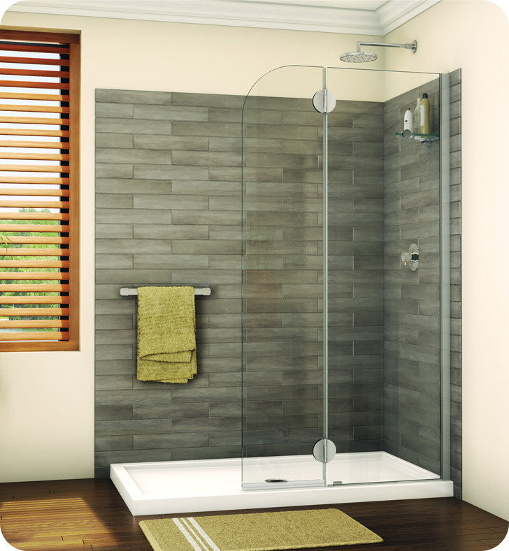 Fleurco Evolution Monaco Round Top Shower Shield with Fixed Panel and Glass Shelf Support VGSS24