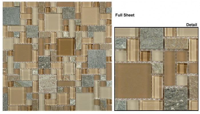GS29 Chestnut Screen Glass & Slate Mosaic